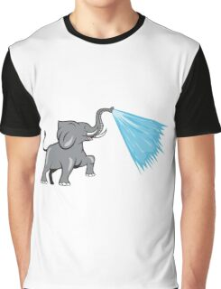 Elephant Marching Spraying Water Cartoon Graphic T-Shirt