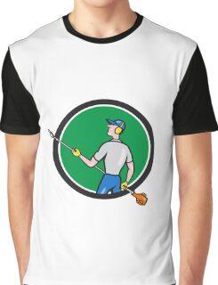 Gardener Hedge Trimmer Circle Cartoon Graphic T-Shirt