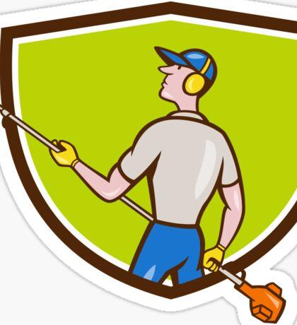 Gardener Hedge Trimmer Crest Cartoon Sticker