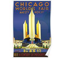 USA Chicago World Fair 1933 Vintage Travel Poster Poster