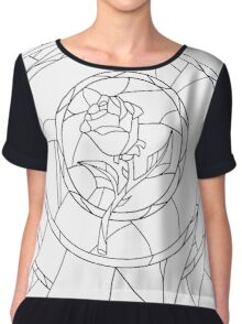 Stained Glass Rose White Chiffon Top