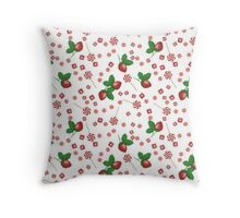 Strawberry lollipops, candy and chewing gum seamless pattern background texture Throw Pillow