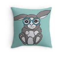 Bunny in specs Throw Pillow