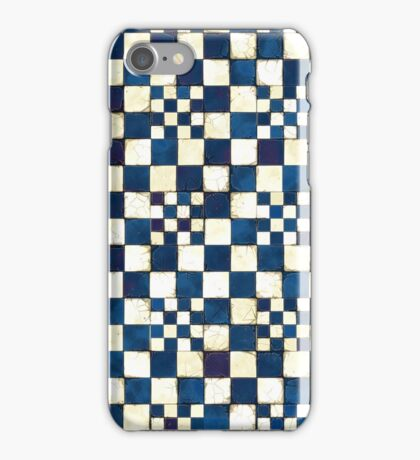 Blue and White Cracked Tile Texture Background iPhone Case/Skin