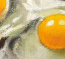 Raw Eggs, Oil Pastel Still Life, Realism, Egg Yolks Sticker