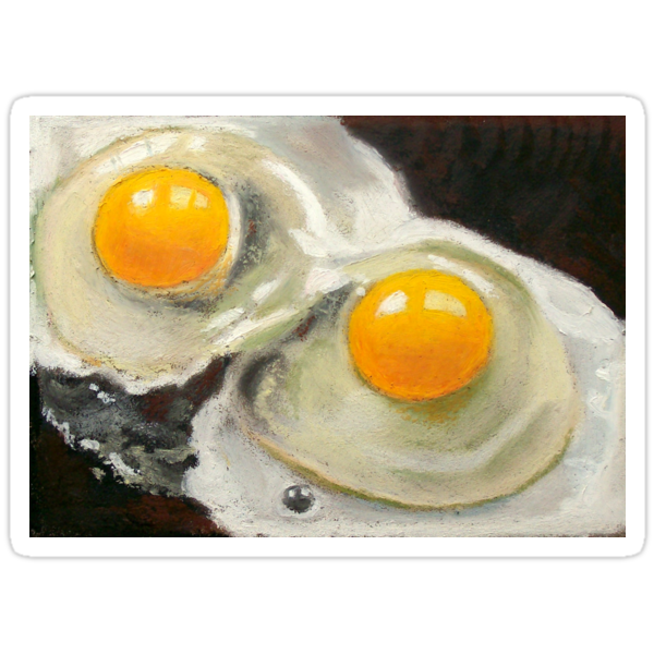Raw Eggs, Oil Pastel Still Life, Realism, Egg Yolks by Joyce Geleynse