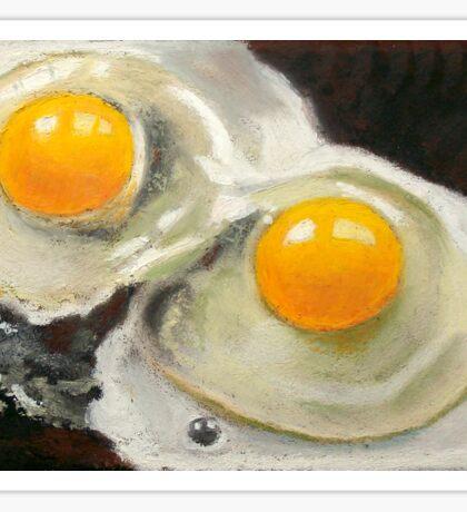 Raw Eggs, Oil Pastel Still Life, Realism, Egg Yolks Sticker