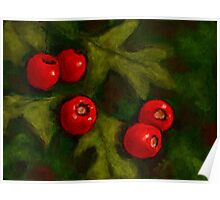 Hawthorn Berries in Oil Pastel, Red and Green, Christmas Poster