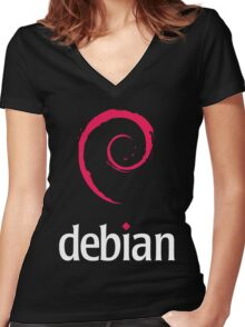 Debian Linux Tees Women's Fitted V-Neck T-Shirt