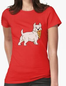 Westie Pizza Womens Fitted T-Shirt