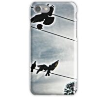 black birds on a wire iPhone Case/Skin