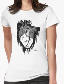 Psycho Heart (Black) Womens Fitted T-Shirt