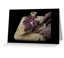 meat cutting process knief black background Greeting Card