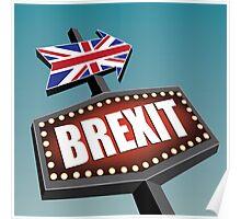 Brexit retro road sign.  Poster