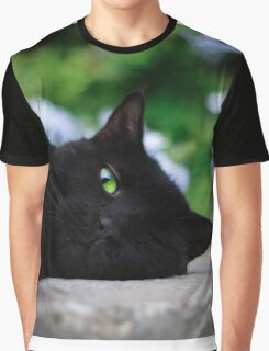 Green eyed black cat Graphic T-Shirt