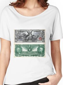 $5 (Five Dollar Bill) Silver Certificate Series of 1896 Women's Relaxed Fit T-Shirt