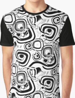 Funky Retro Black and White Graphic Pattern Graphic T-Shirt