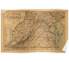 Map of the State of Virginia (1865) Poster