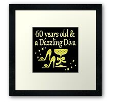 GOLD 60 YEARS OLD AND A DAZZLING DIVA DESIGN Framed Print
