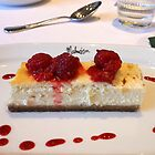 White Chocolate Cheesecake and Crushed Raspberries by kathrynsgallery