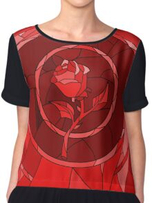 Stained Glass Rose Red Chiffon Top