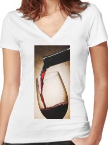 Glass Case Wine Women's Fitted V-Neck T-Shirt