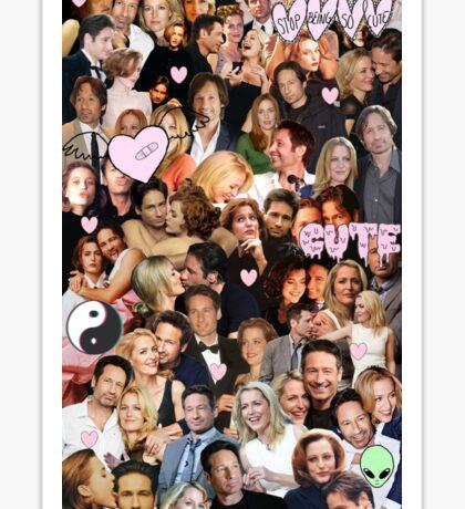 Gillian Anderson and David Duchovny collage Sticker