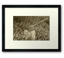 Antique Broad Ax in a Stump of Wood Framed Print