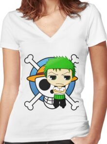 zoro-one piece Women's Fitted V-Neck T-Shirt