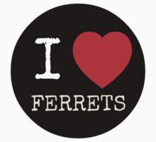 I Heart Ferrets - USARK Fund Raiser Sticker! by Sarah Ball (TheMaggotPie)