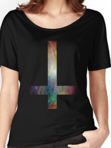 Rainbow Galaxy Inverted Cross Women's Relaxed Fit T-Shirt