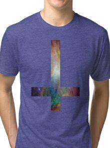 Rainbow Galaxy Inverted Cross Tri-blend T-Shirt