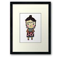 Watercolor Frida Kahlo Pattern Framed Print