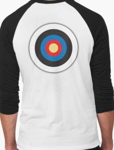 Bulls Eye, Archery, Right on Target, Roundel, on WHITE Men's Baseball ¾ T-Shirt