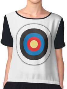 Bulls Eye, Archery, Right on Target, Roundel, on WHITE Chiffon Top