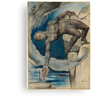 William Blake - Antaeus Setting Down Dante And Virgil In The Last Circle Of Hell. Man portrait: strong man, Antaeus ,  Setting,  Dante ,  Virgil,  Last Circle ,  Hell, smile, manly, sexy men, macho Canvas Print