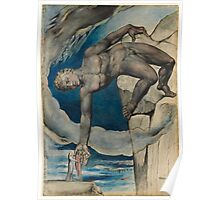 William Blake - Antaeus Setting Down Dante And Virgil In The Last Circle Of Hell. Man portrait: strong man, Antaeus ,  Setting,  Dante ,  Virgil,  Last Circle ,  Hell, smile, manly, sexy men, macho Poster