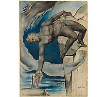 William Blake - Antaeus Setting Down Dante And Virgil In The Last Circle Of Hell. Man portrait: strong man, Antaeus ,  Setting,  Dante ,  Virgil,  Last Circle ,  Hell, smile, manly, sexy men, macho Photographic Print