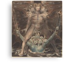 William Blake - The Great Red Dragon And The Beast From The Sea 1805. Man portrait: strong man,  Great,  Red Dragon , Dragon ,  Sea, Beast,  biblical,  bible,  horrific,  horror, myth Canvas Print