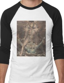 William Blake - The Great Red Dragon And The Beast From The Sea 1805. Man portrait: strong man,  Great,  Red Dragon , Dragon ,  Sea, Beast,  biblical,  bible,  horrific,  horror, myth Men's Baseball ¾ T-Shirt