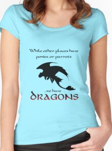 We Have Dragons (Red) Women's Fitted Scoop T-Shirt
