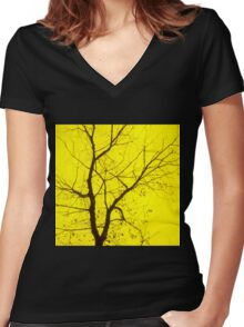 Central Yellow Tree Women's Fitted V-Neck T-Shirt