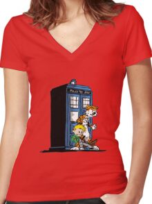 calvin and hobbes police box in action Women's Fitted V-Neck T-Shirt