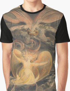 William Blake - The Great Red Dragon And The Woman Clothed With The Sun 1805. Myth:  Great,  Red Dragon , Dragon ,  Sea, Beast,  biblical,  bible,  horrific,  horror, woman, wings Graphic T-Shirt