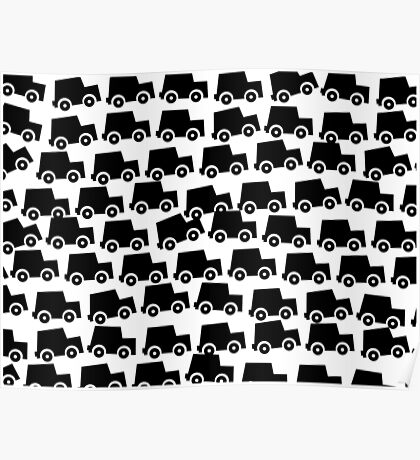 Black and White Cars Poster