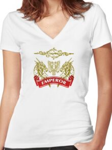 The Emperor Coat-of-Arms Women's Fitted V-Neck T-Shirt
