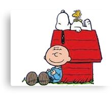 snoopy with charlie and woodstock Canvas Print