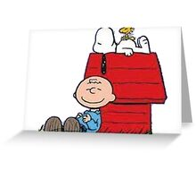 snoopy with charlie and woodstock Greeting Card