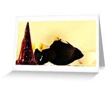TOY PENGUIN DEAD OR SLEEPING AFTER PARTY Greeting Card