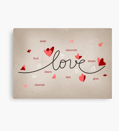 Love, Butterfly Hearts & Text Unique Valentine Canvas Print